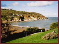 View of Dyffryn Beach from the village green