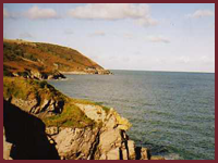 Looking back at Aberporth from the cliff path